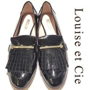 Louise et Cie Black Patent Kiltie Loafers